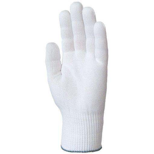 Kötött, fehér poliamid kesztyű, rugalmas, öt szálas, női
