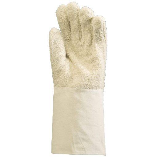 Hurkolt fehér pamutkesztyű, 100°c, 15 cm-es mandzsetta
