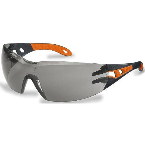 Uvex pheos szemüveg, fekete/narancs szár, füst színű lencse